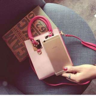 pink korean handbag