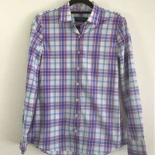 HERRINGBONE Shirt Cotton Suit Plaid White Purple Blue Size 32 Us 4 Au 6 To 8