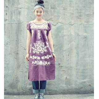 VINTAGE 古著復古手工墨西哥刺繡洋裝