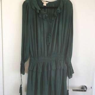 H&M Bohemian Tassel Dress Bottle Dark Green Cinched Waist Size 34 Us 4 Au 6-8