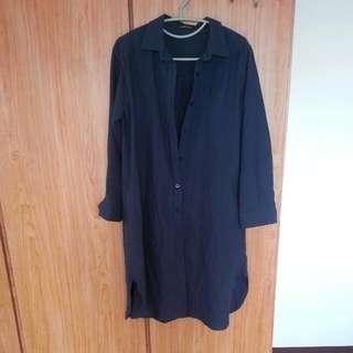 二手,超長版襯衫洋裝~深藍色
