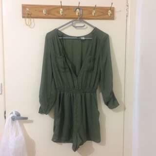 Army Green Playsuit