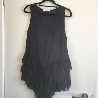 MORRISON Navy 100% Silk Frilled Ruffled Ripped Fairy Top V Neck Size 6-8 Tunic