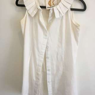 CHARLIE BROWN cotton Work Top Blouse White Peter Pan Collar Ruffle Bow Buttons Size 6