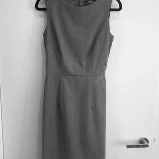 HERRINGBONE Grey Wool Work Shift Dress Belt Size 4 Au 6