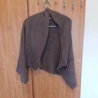 二手-寬版長圍巾/披肩-可可色