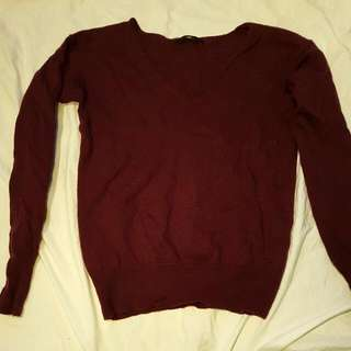 COUNTRY ROAD Pure Merino Wool Maroon Sweater Size 8/10
