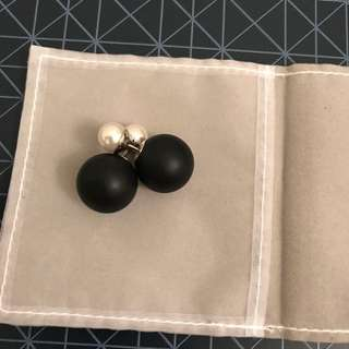 Dior Pearl Earrings (Matte Black And White Pearl)