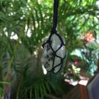 Handmade Macrame Boho Necklace Jade Like Stone Rope