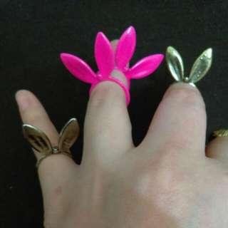 兔耳朵戒指 (三色可挑: 古銅,古銀,桃紅) #內有更多飾品特價#