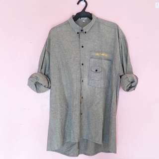 Men's Gray Button Down
