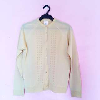 Yellow Eyelet Cardigan