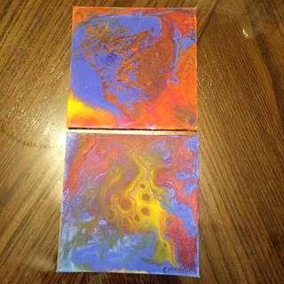Set Of 2 - Mini Paint Pour