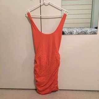 Kookai Orange Ruched Midi Dress