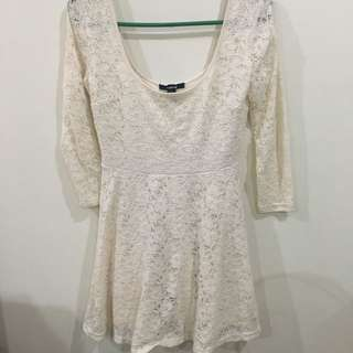 Forever 21 White Lace And Cotton Dress