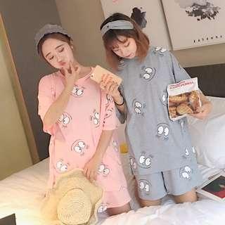 休閑閨蜜寬鬆卡通印花家居服套頭T恤+短褲睡衣(兩色)