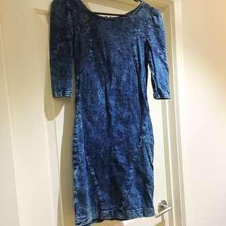 In Denim Tight Denim Dress