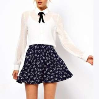Brand New With Tag ASOS Skater Skirt In Swallow Print Navy/cream Uk 8
