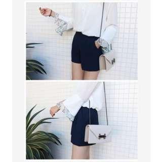 SHIN 厚雪紡摺線後鬆緊褲裙