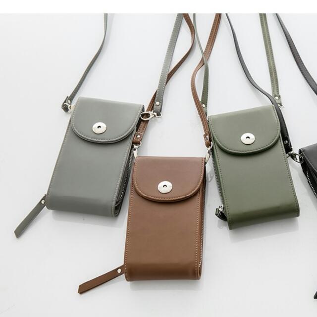 簡約單釦皮革手拿包/手機包
