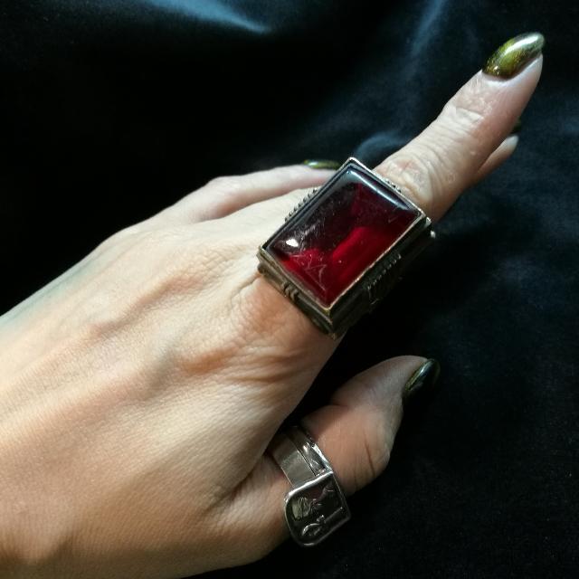 古董黃銅老琉璃戒指