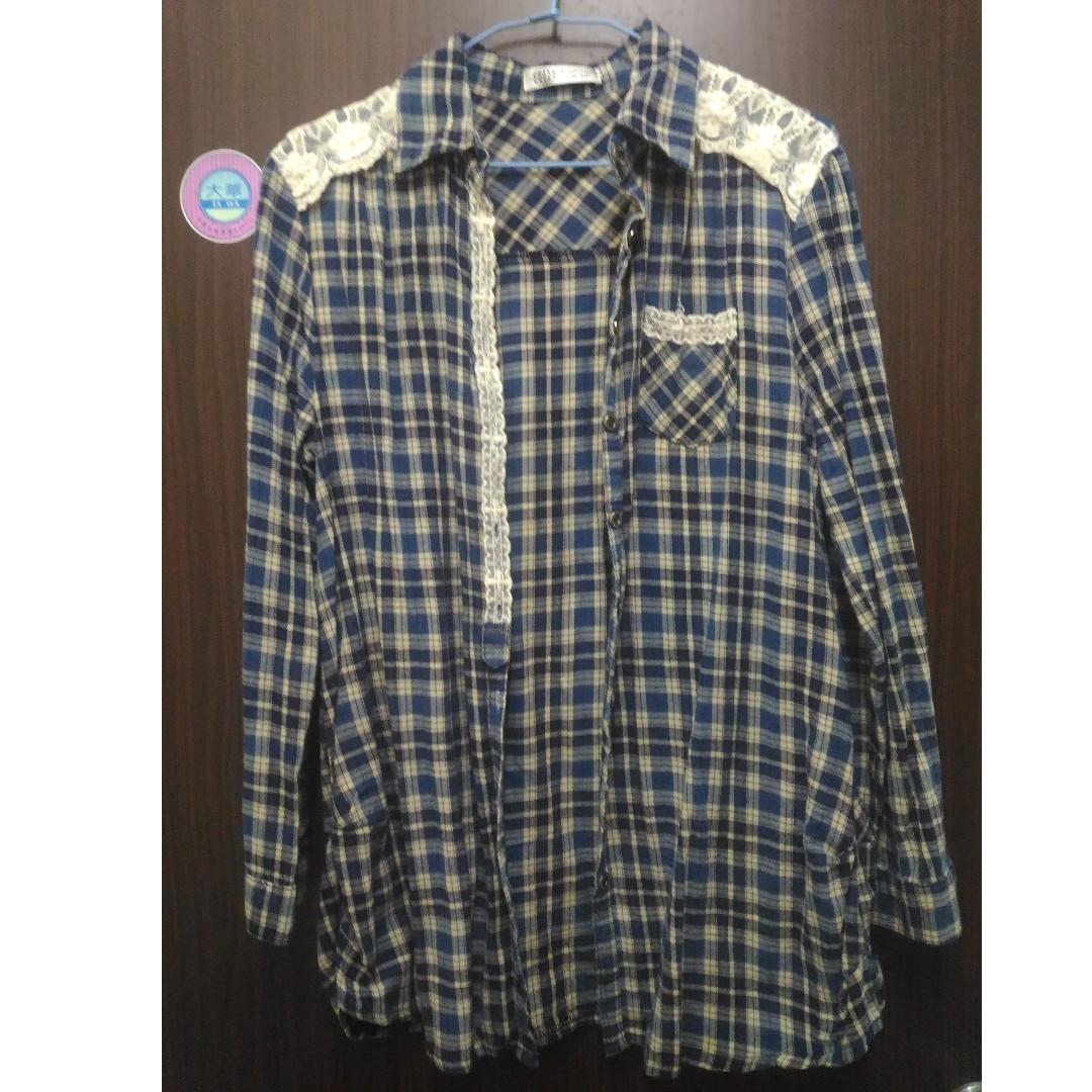 【可交換】藍色格子 長版襯衫 #轉轉來交換 $兩百元襯衫