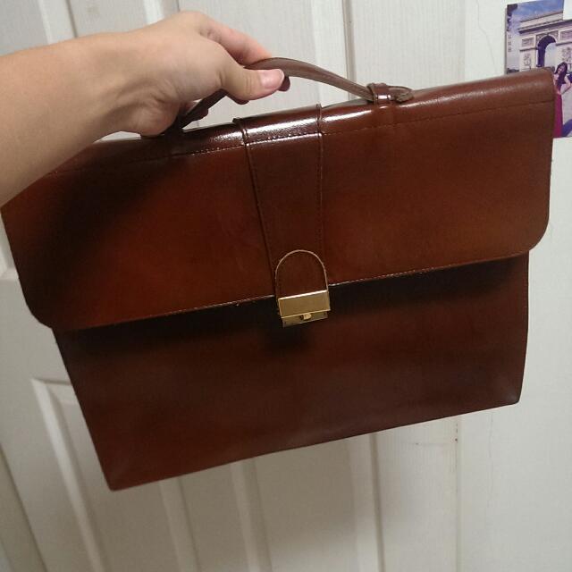 法國古董市集 復古棕色手提包