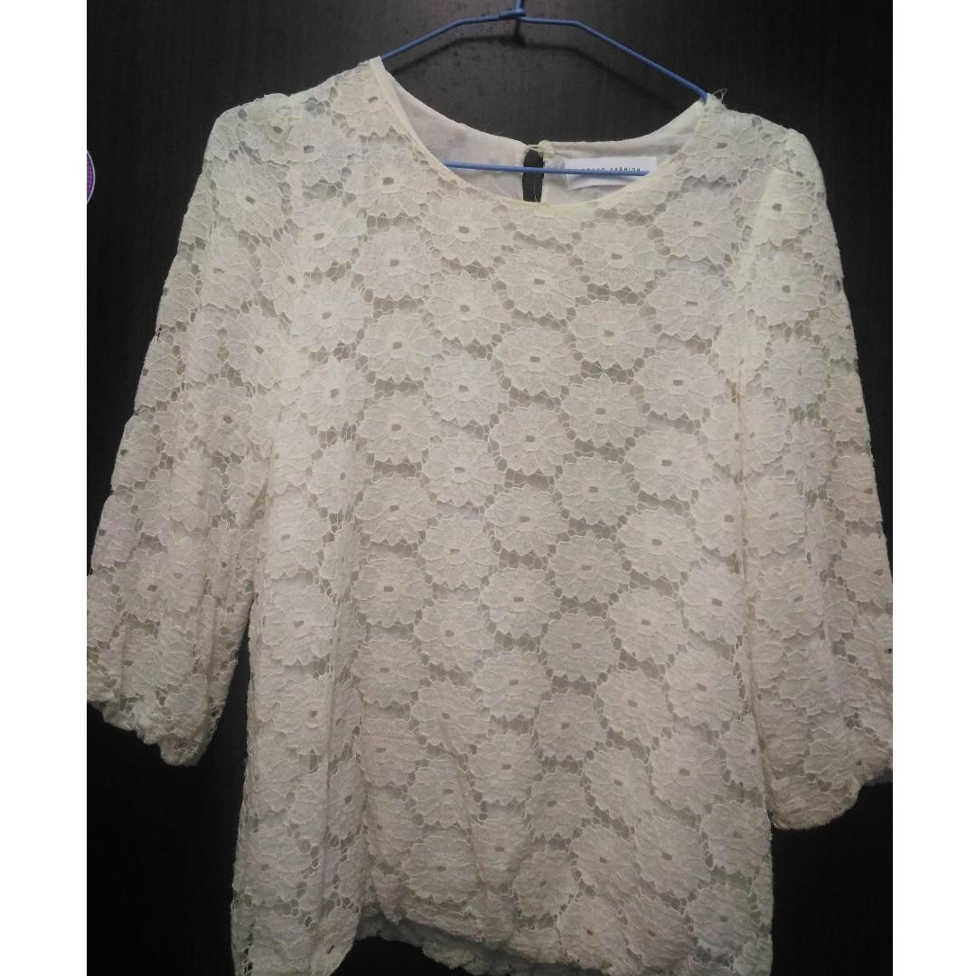 【可交換】蕾絲花花 七分袖 雪紡上衣 #轉轉來交換 #兩百元雪紡