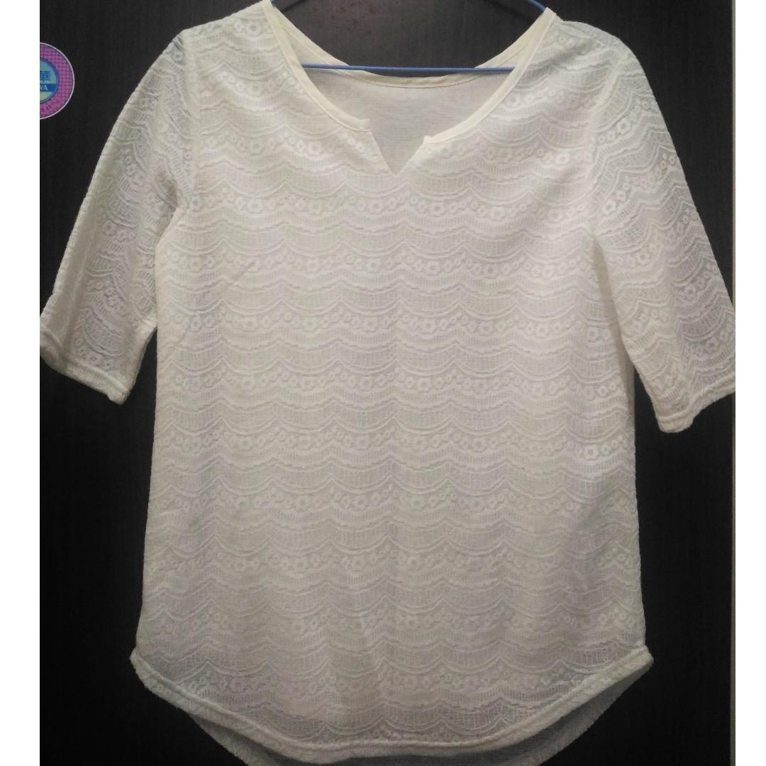 【可交換】小花造型蕾絲 七分袖 雪紡上衣 #轉轉來交換 #兩百元雪紡