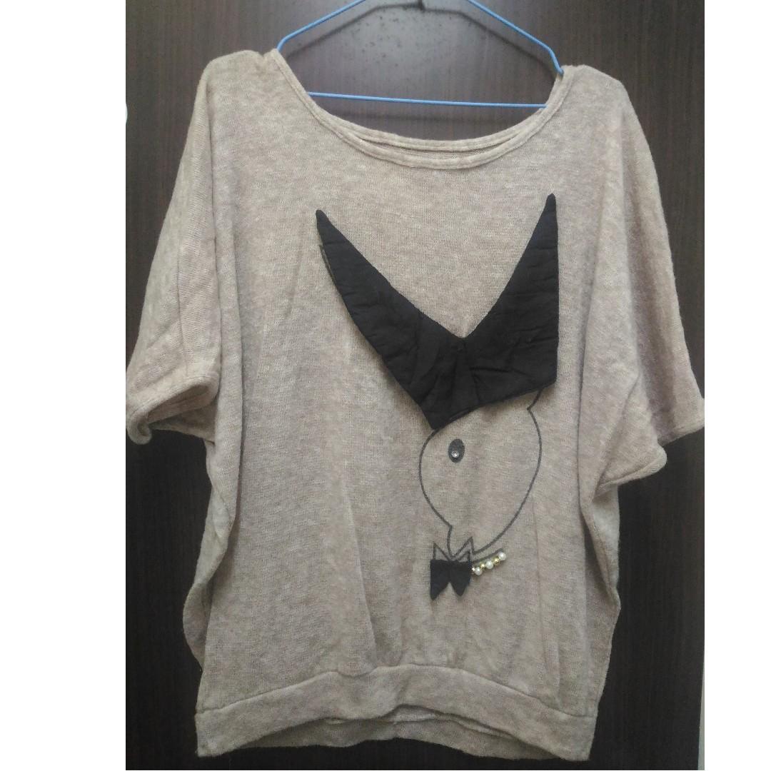 【可交換】大兔兔圖案 蝙蝠袖 針織上衣 #轉轉來交換