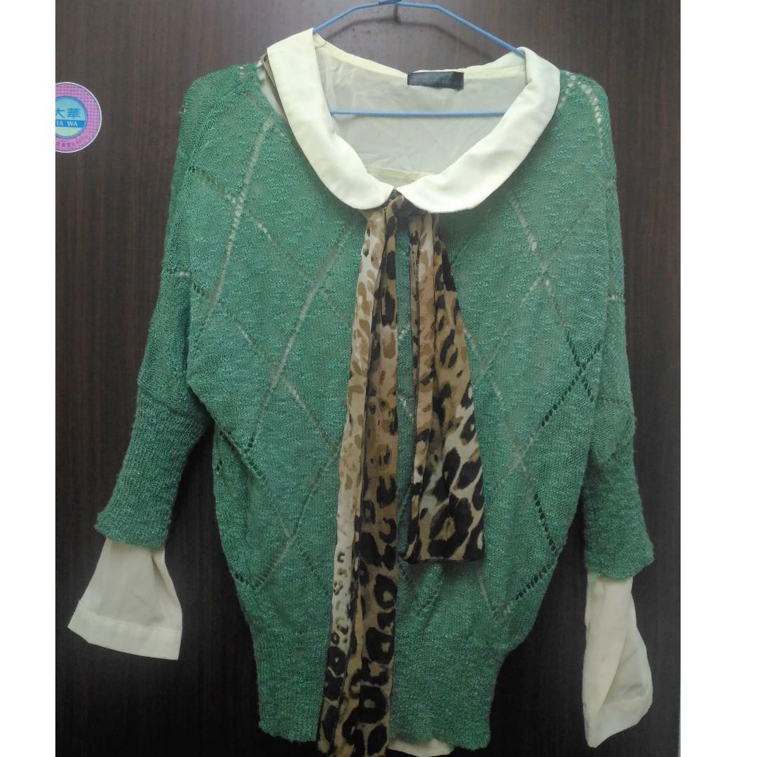 【可交換】整套賣 雪紡襯衫 綠色罩衫 豹紋絲巾 #轉轉來交換