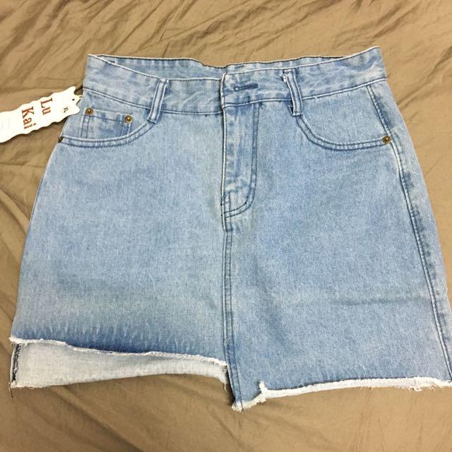 全新 高腰 牛仔短裙 XL