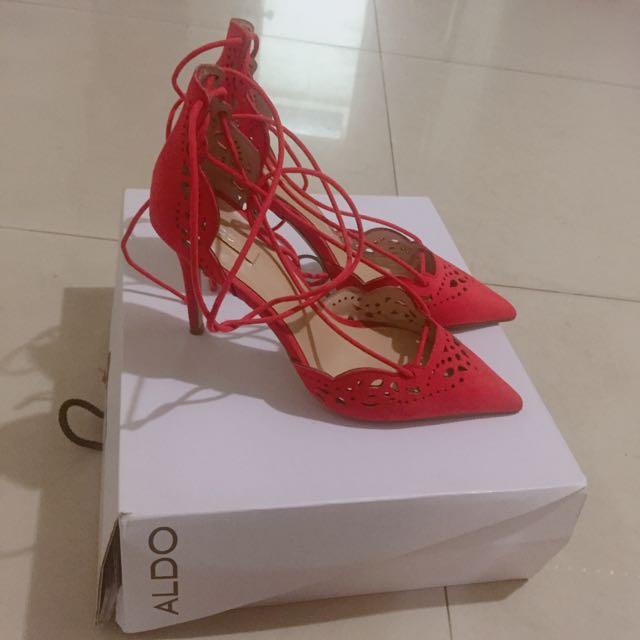 ALDO 橘紅色麂皮綁帶高跟鞋