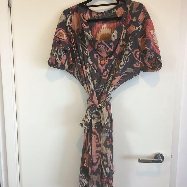 ALL SAINTS London 100% Silk Ikat Bohemian Dress Size 10 Small Cowl Neck Tie