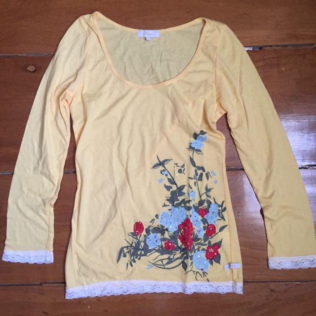 Bayo Yellow Long Sleeve Shirt With Flower Design