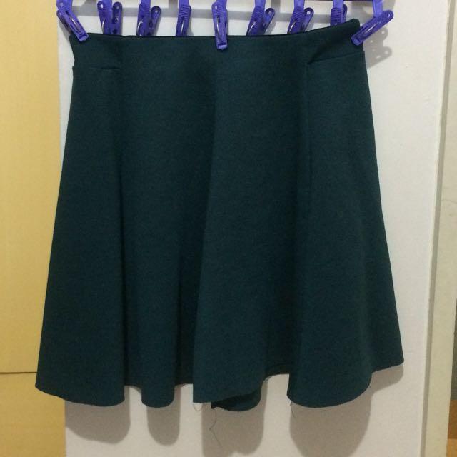 Bershka Emerald Green Skater Skirt