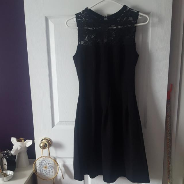 Black A Line Dress With Lace Detailing