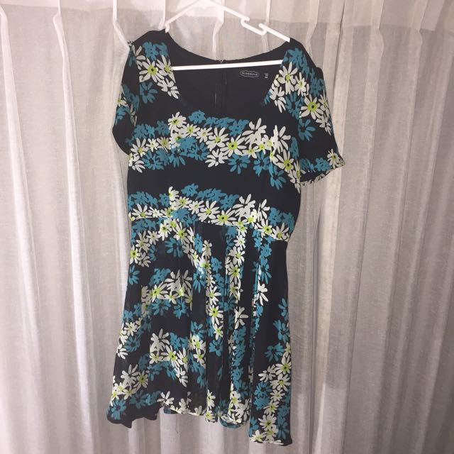 Black Floral Dress Size 14