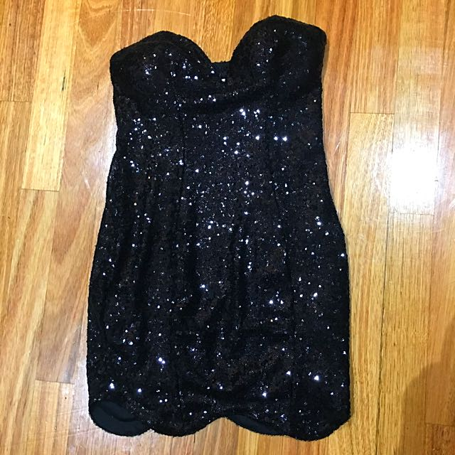 Black Sequinned Strapless Dress