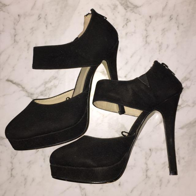 Black Suede Heels Size 38