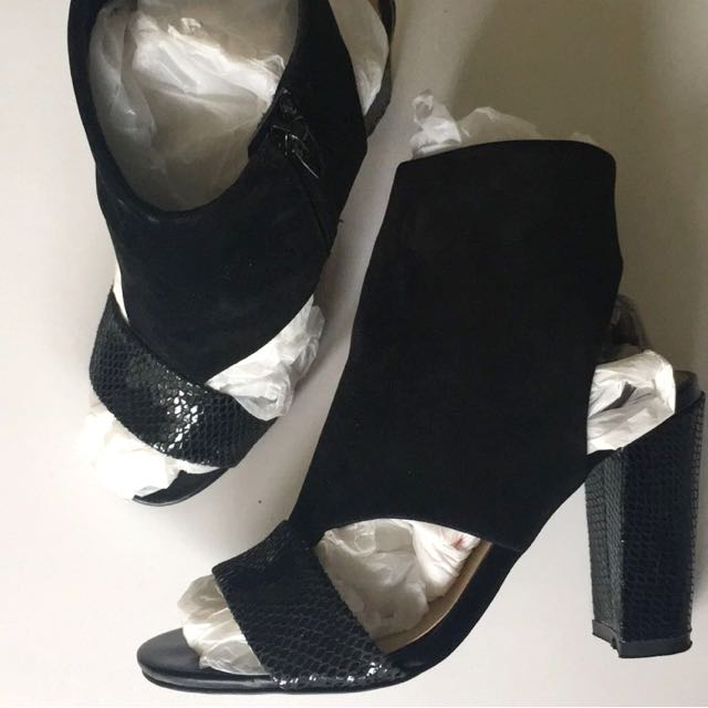 Black Suede Leather High Heels