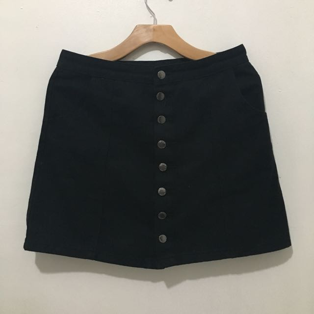 Button Down A Line Skirt