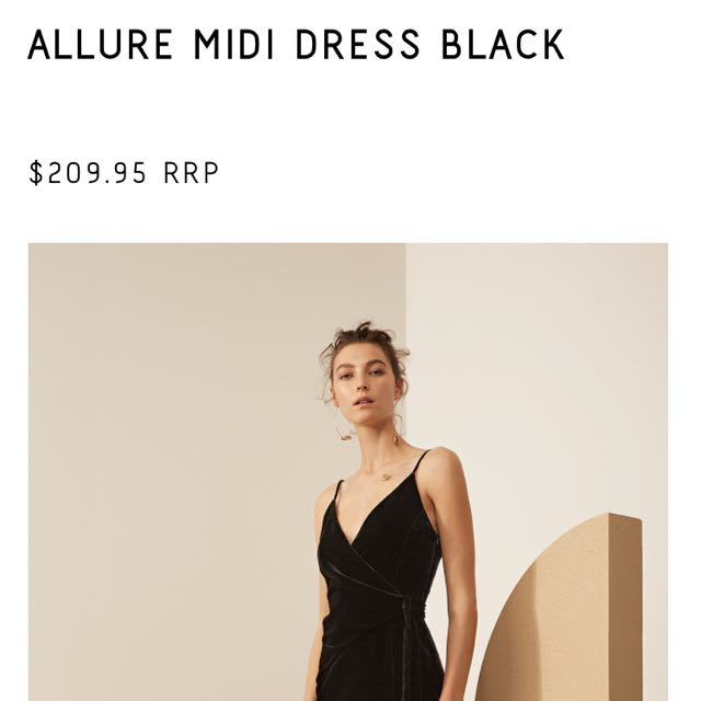 Cameo Allure Midi Black Velvet Dress NWT