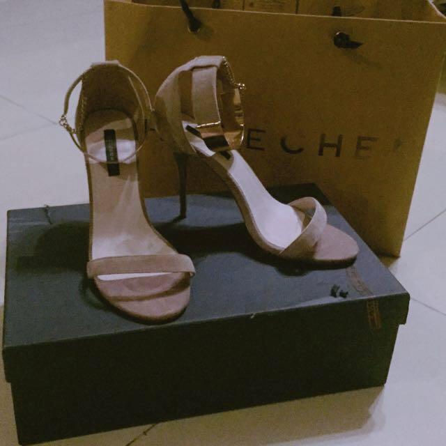 CHLOE CHEN 杏灰色麂皮高跟涼鞋
