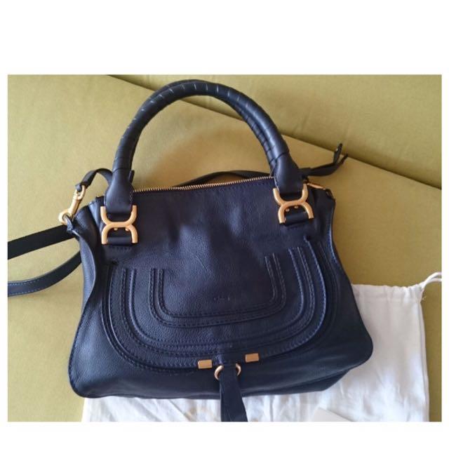 e6c55df4091 Chloe Marcie Navy Blue Medium, Luxury, Bags & Wallets on Carousell