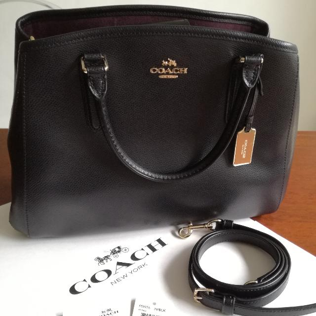 0c92c09b2d7 ... netherlands coach ladies bag f55976 small margot in crossgrain leather  black nwt womens fashion bags wallets