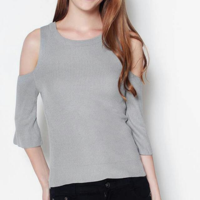 48812f8a0b Cold Shoulder Knit Sleeved Top By Lexi Lyla