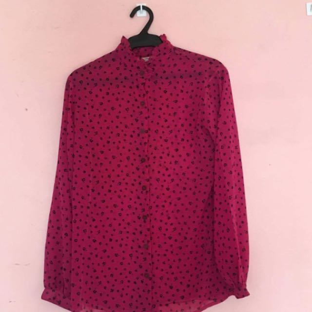 Dark Pink Office Button Down Long Sleeves
