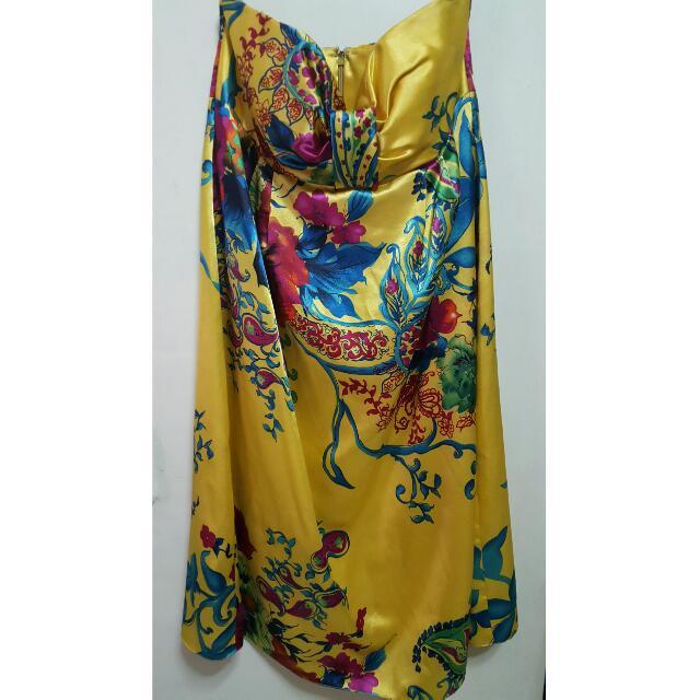 Faith Hope Love Yellow Satin Tube Dress