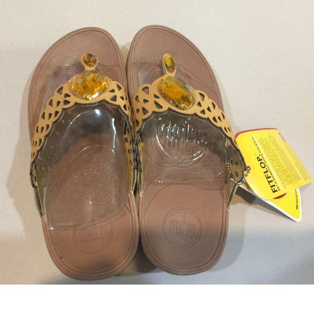 FitFlop Bijoo黃色鏤空雙鑽行動塑身坡跟夾腳人字拖鞋 #轉轉來交換
